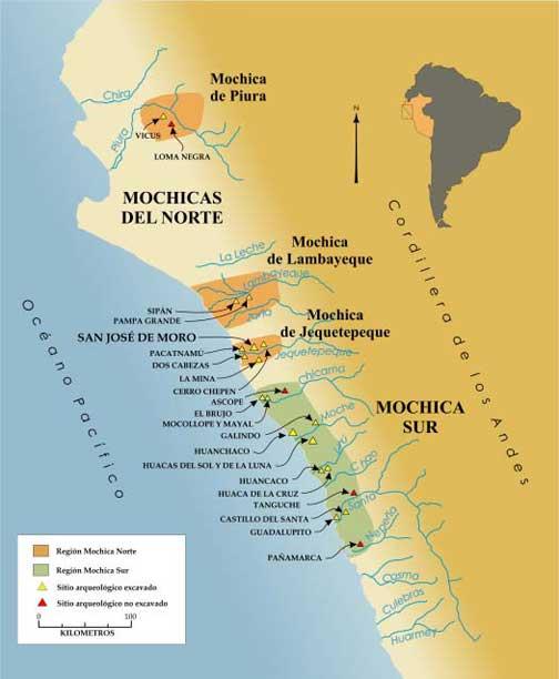 Figura 1. Mapa de la Costa Norte del Perú con la ubicación de los